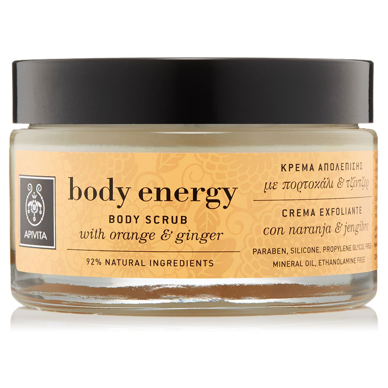 Apivita Body scrub energy with orange & ginger 200ml Συμβάλλουν στην ανάπλαση του δέρματος - mavrommatihealth overespa