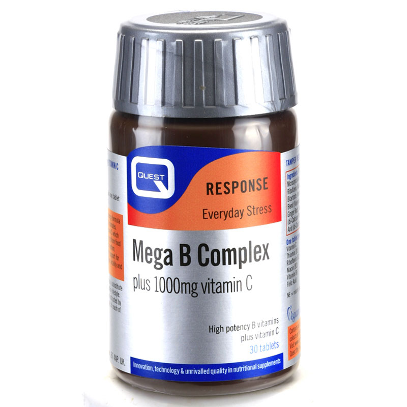 Quest Super Mega B complec plus 100mg vitamin 30tabs Ιδανικό για άτομα με έντονο τρόπο ζωής -mavrommatihealth overespa
